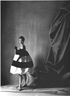 Model wearing a balloon dress by Balenciaga, 1958