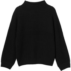 Monki | View all new | Libby knitted top ($30) ❤ liked on Polyvore featuring tops, oversized knit tops, black knit top, oversized tops, round top and knit tops