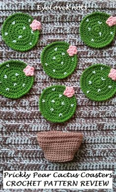 Shop Etsy, EyeLoveKnots: Set of 4 Prickly Pear Cactus Coasters, Crocheted Coasters, Crocheted Cactus Decor, Handmade Coasters Cactus En Crochet, Beau Crochet, Crochet Diy, Crochet Home, Crochet Gifts, Love Crochet, Beautiful Crochet, Crochet Dolls, Crochet Kitchen