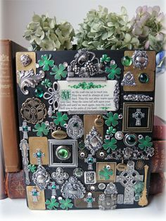 #Collage Art of all things #Irish shamrocks, quotes, celtic cross,and GREEN Happy St. Patrick's Day!