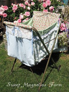 Sweet Magnolias Farm Sneek Peek .. Authentic Vintage Laundry Cart with upcycled Laundry Bag ..on it's way to the next Vintage Marketplace June 1st and 2nd 2012...
