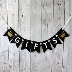 Little Prince Baby Shower Gifts Banner, in Black, White & Glitter Gold by LovinglyMine on Etsy