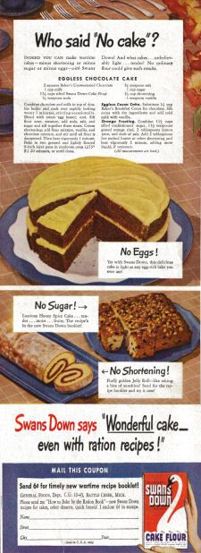 Swans Down Cake Flour - Wartime Cake Recipes - Click To View Larger