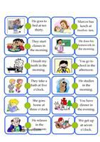 This is a guided speaking activity where students talk about routines or things happening right now. The pictures and sentences  help them to use the correct tense. It takes about 45 minutes if students talk about every picture. Put students in pairs of 2 - 4. Use counters.  - ESL worksheets