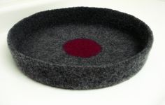 Mod Modern Cat or Small Dog Pet Bed Hand Knit Crochet Felted