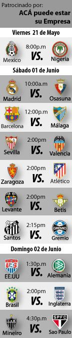 """Fútbol recomendado para este fin de semana: 31 de Mayo al 02 de Junio  En nuestro Top 10 de fútbol recomendado por el """"Cirujano Román"""", seguimos con amistosos de selecciones de fútbol, la última fecha de la Liga española y buenos encuentros del campeonato brasileño para este fin de semana que irá a partir de 31 de Mayo al 02 de Junio de 2013.   http://blogueabanana.com/deportes/91-futbol/1064-futbol-recomendado-31-mayo-al-02-junio.html"""