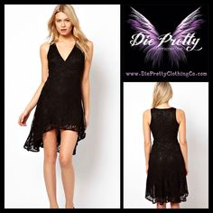 Cross Front Black Lace High Low Dress  Item No. : DP3061  Price : $65.99  Size S/M only available.   To order today, please email us at dieprettyclothing@gmail.com  We look forward to hearing from you!  ~ Die Pretty Clothing Co. www.dieprettyclothingco.com