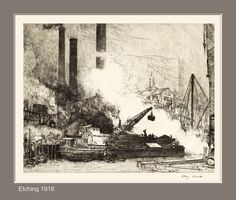 'Coal Barge' etching - by Henry Patrick Raleigh (1918)