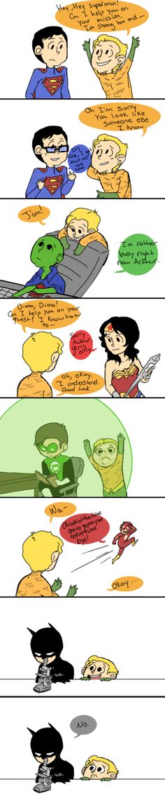 Meanwhile at the Hall of Justice, Aquaman is making a peanut butter and jelly sandwich because he can't do crap!