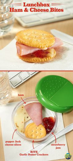 The afternoon slump is real! Make these tasty RITZ cracker Sweet & Spicy Ham 'n Cheese bites when you need a quick work day snack. Pepper jack cheese, deli ham, and strawberry jam on RITZ Garlic Butter crackers are a great sweet and savory afternoon treat!