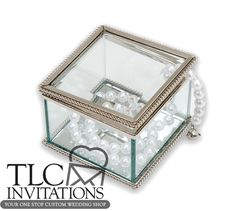 Give this beautiful Beveled Glass Box with Mirror Bottom as a gift for your bridesmaids. May be personalized for a wonderful keepsake.