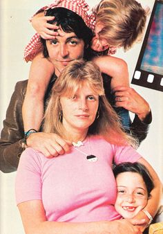 Paul McCartney and his wife Linda Eastman with their daughter Stella and MaryMcCartney.