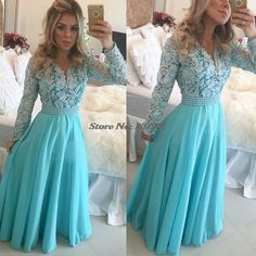 2016 Long Blue Prom Dresses Modest Long Sleeve V-Neck Pearls Lace Chiffon A-Line Floor Length Hot Selling Party Gowns Custom Made Pretty Homecoming Dresses, Elegant Bridesmaid Dresses, Prom Dresses Long With Sleeves, A Line Prom Dresses, Prom Party Dresses, Modest Dresses, Prom Gowns, Pageant Dresses, Backless Dresses