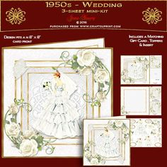 1950s - Wedding by June Young A three-sheet mini-kit for an 8 x 8 card front, featuring a beautiful bride in a tiered 1950s Wedding Dress, in a multi-layered effect frame embellished with corner floral sprays and toning butterflies. The first sheet has the card front and matching gift card, sheet 2 has decoupage, and five greetings panels, two are blank for your own use. Sheet three has a matching insert for your card and two small toppers which can be used inside the front of your card or…