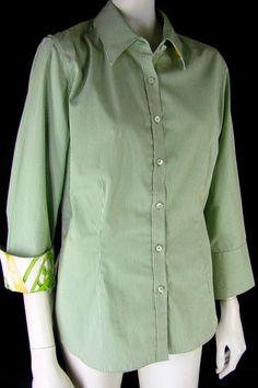 J. McLAUGHLIN Career Shirt 12 Striped Cotton Silk Trim 3/4 Slv Buttoned Blouse #JMclaughlin #ButtonDownShirt #Career