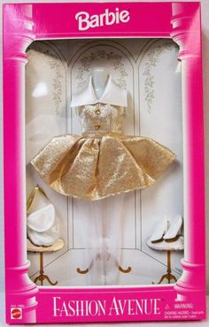 Amazon.com: 1996 #15862 Barbie Doll Fashion Avenue Party Gold & White Clothing Set: Toys & Games