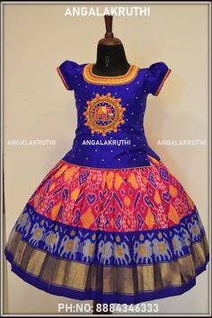 Pattu pavada designs by Angalakruthi bangalore custom designer boutique in bangalore langa blouse designs  kanchi pattu lehenga ikkat silk pavada latest Half Saree Designs, Pattu Langa Voni, Pattu Pavadai Voni