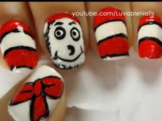 Dr. Seuss nail art - The Cat in the Hat nail art by LuvableNails
