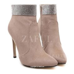 Solid Color Rhinestone Pointed Toe Ankle Boots (€36) ❤ liked on Polyvore featuring shoes, boots, ankle booties, pointed toe boots, rhinestone studded boots, pointy toe bootie, pointed toe bootie and pointy toe booties