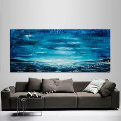 Grand bleu océan peinture à lhuile abstraite par largeartwork