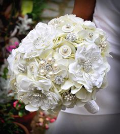 Magnolia Bling Bouquet - by Blue Petyl  - love the mix between real flowers and charms