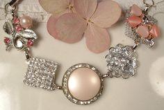 OOAK Vintage Blush Pink Pearl and Rhinestone Bridal Bracelet, Heirloom Cluster Earring Silver Plated Bracelet.