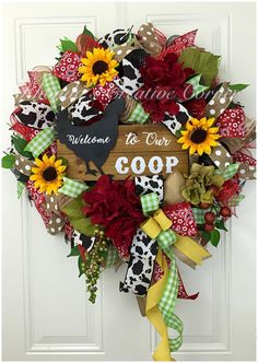 A personal favorite from my Etsy shop https://www.etsy.com/listing/458117174/welcome-to-our-coop-deco-mesh-wreath