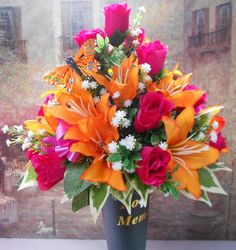 Image result for flower arrangements for graves
