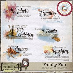 Personal Use :: Element Packs :: Family Fun Word Art Clusters