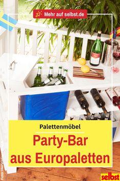 Da kann die nächste Grill-Party kommen! Mit dieser Bar sind die Getränke immer griffbereit und teils sogar kühl! #europaletten #palettenmöbel #outdoormöbel #palettenbar #bar #outdoorbar #diy #selbst Grill, Party, Diy, Simple, Craft Work, Projects, Bricolage, Parties, Do It Yourself