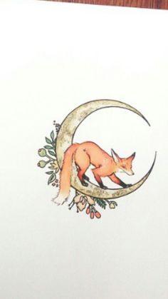Fox Crescent Moon Tattoo                                                       … #MoonTattooIdeas