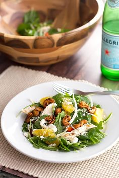 Power Salad by girlgonegourmet #Salad #Chicken #Cashew #Orange #Spinach #Arugula #Cabbage #Feta