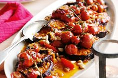 Marrakesh Eggplants & Tomatoes. You could also crumble over some feta with the pine nuts in step 4. This dish makes a delicious accompaniment to barbecued lamb.  Top tip: Verjuice, available from supermarkets and delis, is the juice of unripe grapes.