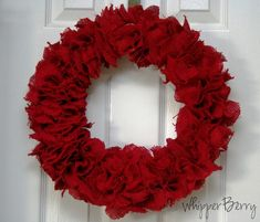 Bright Red Valentine's Day Burlap Wreath  Craftaholics Anonymous® | Valentine's Day Crafts Round up  http://www.craftaholicsanonymous.net/guest-blogger-heather-from-whipperberry