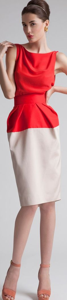 Azzi & Osta ~ Summer Red + Beige Sleeveless Dress 2015