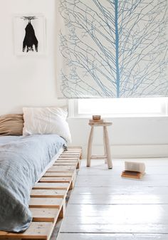 BEDROOM | Bat Poster <3 | Tree Graphic Design on the Roller Blind | Pallet Bed | Bright Colors
