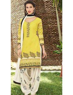 Imaginative Yellow Cotton Patiala Salwar Kameez