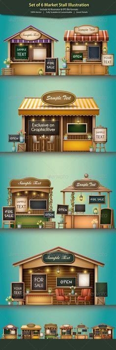 Buy Market Stall Illustration by OTHA on GraphicRiver. Set of 6 Market Stall Illustration A set of 6 quality Market Stall/Shop Illustration. Kiosk Design, Cafe Design, Booth Design, Store Design, Food Cart Design, Food Stall Design, Mini Cafe, Food Kiosk, Café Bar