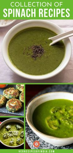 Spinach is very healthy for anyone, but besides salad, what can you make with it? Well, you are in luck! We have come up with a list of 34 Indian spinach recipes that are sure to be dinner hits! All of these recipes can be served with rice or aloo (potatoes) or can be made into saag (a popular Indian dish). Try one of these recipes this week! #Indianfood #vegetarian #healthy #authentic #dinner Vegetarian Curry, Tasty Vegetarian Recipes, Healthy Recipes, Easy Spinach Recipes, Vegetable Recipes, Pakora Recipes, Curry Recipes, Veg Recipes Of India, Indian Food Recipes