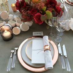 The ARK - Copper Chargers / Lunar Snow Dinner Plates / Eclipse Salad / Lucite Flatware / Copper napkin ring / Linen Crinkle Napkin