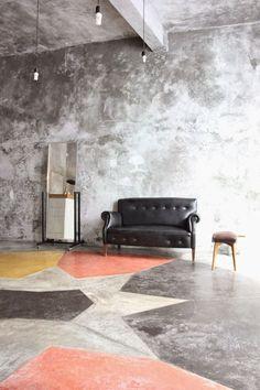 Raw Beauty: 14 Gorgeous Spaces with Concrete Floors Painted Concrete Floors, Painting Concrete, Stained Concrete, Concrete Countertops, Laminate Flooring, Plywood Floors, Concrete Lamp, Tile Basement Floor, Painting Basement Floors