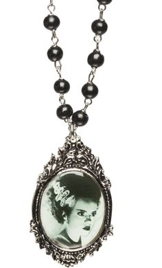Bride of Frankenstein rosary style necklace | via Sourpuss clothing $24.00
