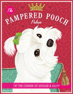 Maltese Art  The Pampered Pooch Palace  8x10 by RetroPetsGallery, $20.00