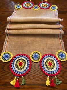 Crochet Cord, Crochet Motifs, Crochet Fabric, Burlap Fabric, Crochet Doilies, Double Crochet, Crochet Flowers, Crochet Patterns, Burlap Table Runners