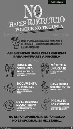 ¿No te gusta hacer ejercicio? - Do you not like to exercise? Fitness Quotes, Fitness Tips, Health Fitness, Weight Loss Motivation, Gym Motivation, Postural, Cardio, Health Coach, Excercise