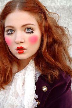 Xenia aka Doe Deere Mime Makeup, Doll Makeup, Costume Makeup, Hair Makeup, Cute Clown Makeup, Jester Makeup, Circus Costume, Doll Costume, Costumes