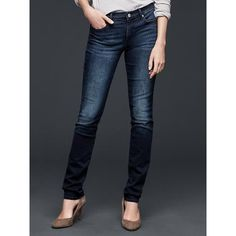 Gap Women 1969 Resolution Slim Straight Jeans ($70) ❤ liked on Polyvore featuring jeans, dark indigo, tall, dark blue jeans, slim jeans, faded jeans, stretch straight leg jeans and petite straight leg jeans