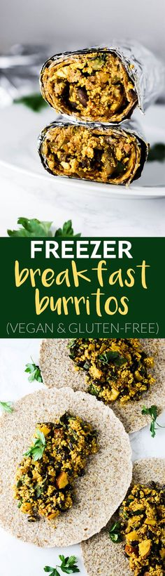 Save time in the morning by grabbing a prepped Vegan Breakfast Burrito from the freezer! Its full of protein to keep you satisfied during busy mornings. mama world recipes Zucchini Muffins, Muffins Blueberry, Almond Muffins, Vegan Meal Prep, Vegan Vegetarian, Vegetarian Recipes, Healthy Recipes, Vegan Meals, Vegan Dishes