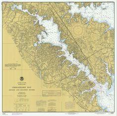 Chesapeake Bay - Severn River & Magothy River Historical Map - 1977 (square)