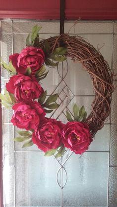 Magenta peony wreath